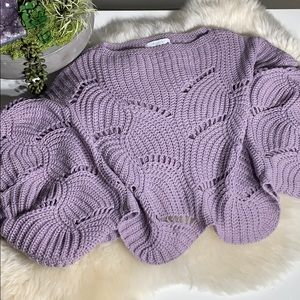 Anthro Elodie Cropped Crocheted Lilac Sweater